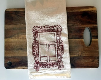 SALE 50% OFF Flour Sack Towel (Unbleached) - Kaluga Russian Window (Salmon Colored) - Hand Screen Printed
