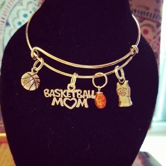 Basketball Charm Bracelet: Basketball Charm Bracelets. Basketball Mom Gift. Bangle