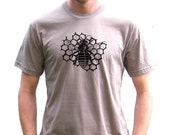 Mens Organic American Apparel Tshirt - Bee with Honeycomb Design - Small, Medium, Large, Extra Large, XXL