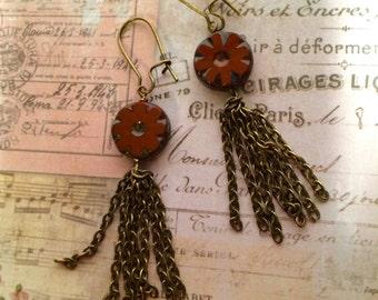 Fringe Benefit tassel earrings, chain tassel earrings, chain fringe tassel earrings, Czech glaa tassel earrings.