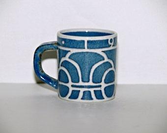 Royal Copenhagen Fajance 1968 Mug, Denmark, Ellen Malmer, Collectible, Blue, Stoneware, Small Mug, Annual, 1960s, Scandinavian, Coffee, Tea