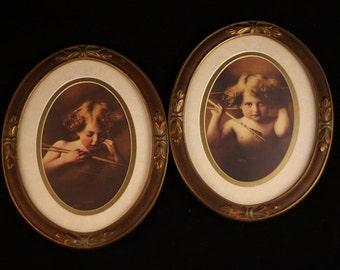 Vintage Cupid Prints in Lovely Oval  Frames