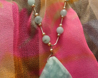 Beautiful Handmade? Blue Gemstone Necklace with Leather and Sterling Silver
