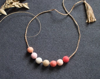 hand felted wool beads necklace with tassel