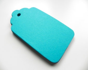 "50 Aqua/Turquoise Scallop Gift Tags Large 2.25"" x 4.5"""