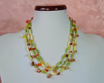 crochet necklace with semiprecious stones