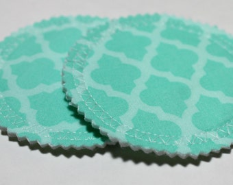 Teal Moroccan Nursing Pads, Breast Pads for Nursing, Washable Reusable Nursing Pads, Breastfeeding Pads, Absorbent Pads, Moroccan Print