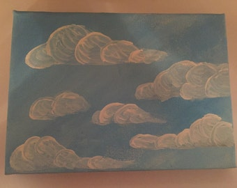 """Cloudy Sky 5""""x7"""" Acrylic Painting"""