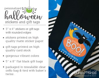 Personalized Halloween Stickers & Gift Tags including Favor Bags