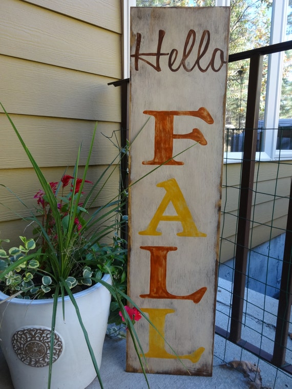 Hello Fall 10x40 Hand Painted Wood Sign By