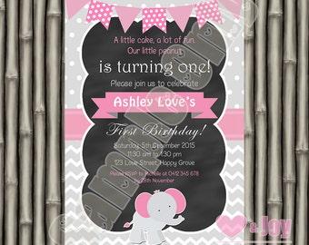 Elephant Invitation, Elephant Invite, Pink Elephant Invite, Girl Birthday, 1st Birthday Invitation, 2nd Birthday, 3rd, 4th, 5th, PRINTABLE