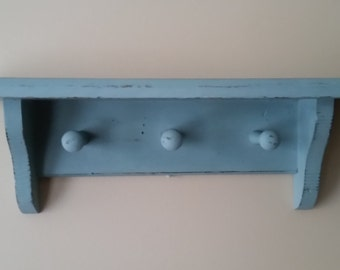 Hand Painted Blue Cottage Chic Wall Shelf