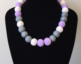 Fashion jewelry / purple statement necklace / Big modern jewellery necklace / chunky bead necklace / big round bead necklace / gift for her
