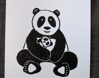 Panda Block Printed Blank Card