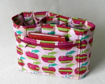 Purse organizer - Red and green appels - Padded bag organizer - Flat purse insert - Handbag organizer with zipper pocket - Pink organizer