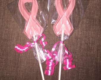 Pink Ribbon Chocolate Lollipops - Breast Cancer Awareness