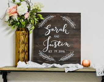 Welcome Wedding Sign || Names & Date || Reception Signage || Wood Wedding Sign || Rustic Wedding Decor