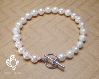 Real Pearl bracelet,bridesmaid gift,freshwater pearl bracelet,bridesmaid bracelet,white pearl bracelet,Ivory pearl bracelet