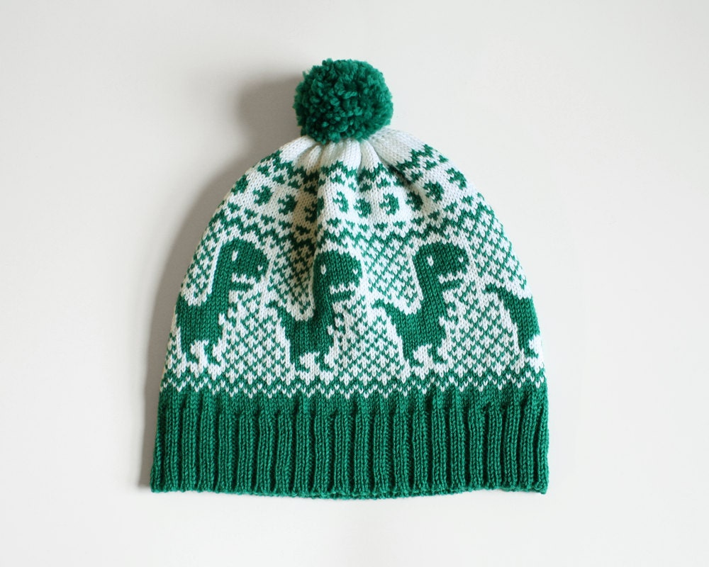 Knit Dinosaur Pattern : Dino Hat Knit Beanie with Dinosaurs Adult Dinosaur Hat