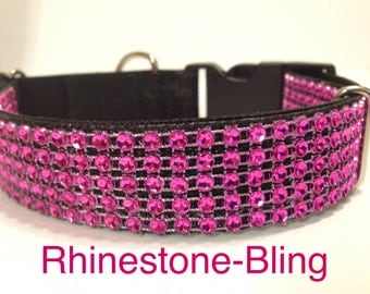 Bright, Pink-Sparkle Bling, 'Rhinestone', Fancy Dog Collar, All Sizes available.