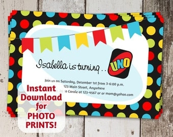 Uno Theme Invitation - 1st / First Birthday Party - Instant digital file download - Get photo prints / printable on card stock - Cute Invite