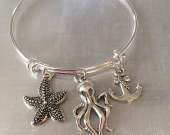 Octopus Bracelet with octopus anchor and starfish charms