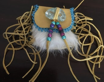 Deerskin pouch with rabbit fur and beads