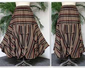 Comfyplus lagenlook gathered Skirt in Cotton Sousdi Moroccan Style Fabric. 1xl/2xl and 3x/4xl