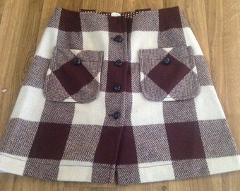 1960s Brown Plaid 100% Wool Miniskirt