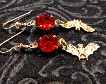 Dramatic Drop Earrings with Silver Bats And Red, Red Rhinestones