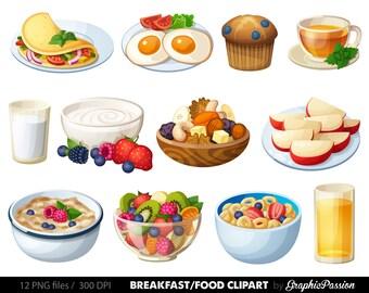 Breakfast Clipart Food clipart Dessert clipart Food clip art Pancakes clipart omlette clip art Cereal clipart Eggs clipart