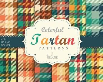 "Tartan digital paper: "" Colorful Tartan "" scrapbook digital paper with tartan, plaid patterns / textured digital paper, plaid paper"