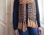 Crochet large square mesh scarf pattern / crochet simple and easy mesh scarf pattern
