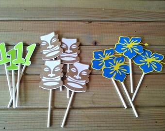 Luau Tiki Cupcake Toppers - Hawaiian birthday - party supplies - party supplies - boys birthday - luau food picks