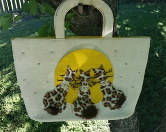3 Leopard kitties vintage Garay bag.