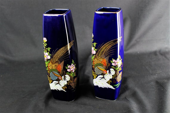 Vintage-Japanese Ceramic Interpur-Square Cobalt Blue Vases With Cock Pheasant and Floral Motif