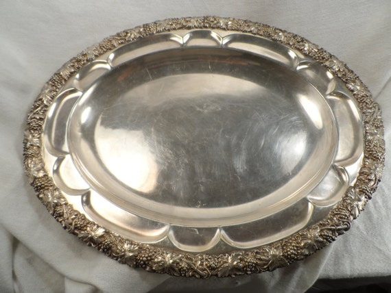Silver plate tray-Antique Silver plate serving tray with a heavy band of grapes and leafs 1930 unmarked-Tutt Estate
