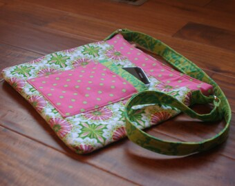 Pink and Green Shoulder Purse