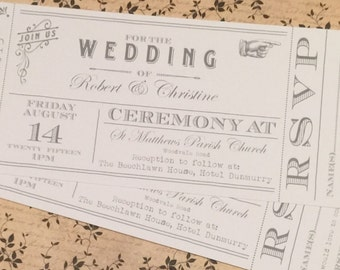 50 White Vintage Shabby Chic Ticket Wedding Invitations!