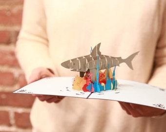 Pop Up Shark Birthday Card, Happy Birthday Card, Shark Birthday, Shark Tank, Jaws, Shark Week Card, Coral Reef Card, Shark Week, Land Shark