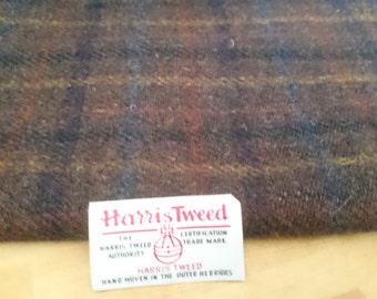 Harris Tweed Cloth Fabric Rich Brown Check Luxury Handwoven 100% Pure Virgin Wool handwoven in Outer Hebrides Scotland