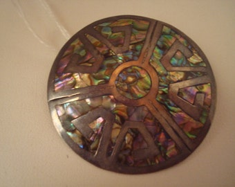 Vintage inlaid sterling pin/pendant