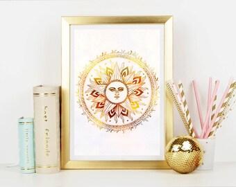 Sun Mandala Mandala Art Print - Home Decor - Wall Art - Art Print