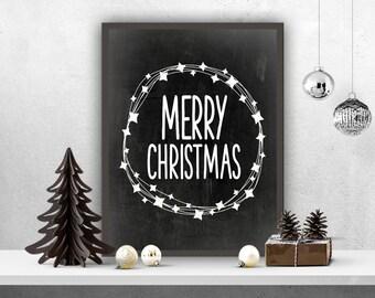 Merry Christmas Print, Chalkboard Christmas Art Print, Holiday Print, DIY Christmas, Instant Download, Merry Print, Christmas Decor