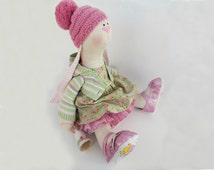 Rabbit doll art Becky bunny doll OOAK 18''46cm Stuffed animal bunny toy Unique Tilda Cloth doll Green gift Soft toy Collectible home decor