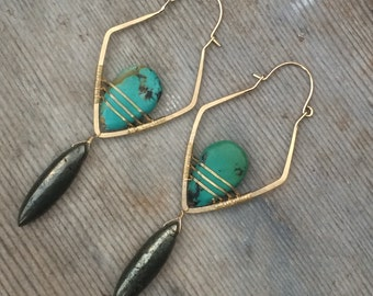 Turquoise and Pyrite on 14K Gold Fill Earrings