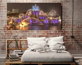 Chicago Photography, Chicago Canvas, Canvas Gallery Wrap - Ready to Hang, Canvas Wall Decor, Buckingham Fountain & Fireworks, 4 th July
