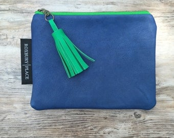 Blue Leather Clutch, Leather Bag, Blue Purse, Blue and Green Zipper Pouch, Leather Tassel Bag, Handmade Bag, Travel Zip Pouch,