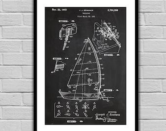 Sailboat Patent, Sailboat Poster, Sailboat Blueprint,  Sailboat Print, Sailboat Art, Sailboat Decor, Nautical Decor, Nautical Art