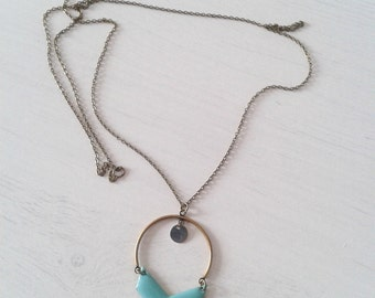 "Long necklace ""Elisa"",half-bow and turquoise chevron"
